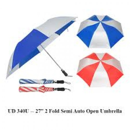 "27"" 2 Fold Semi Auto Open Umbrella"