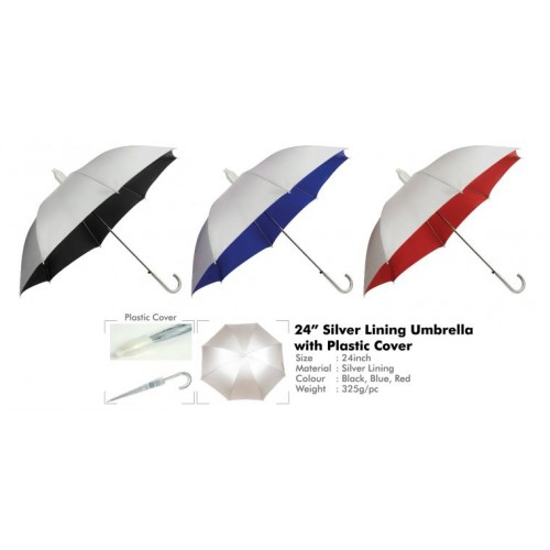 "24"" Silver Lining Umbrella with Plastic Cover"